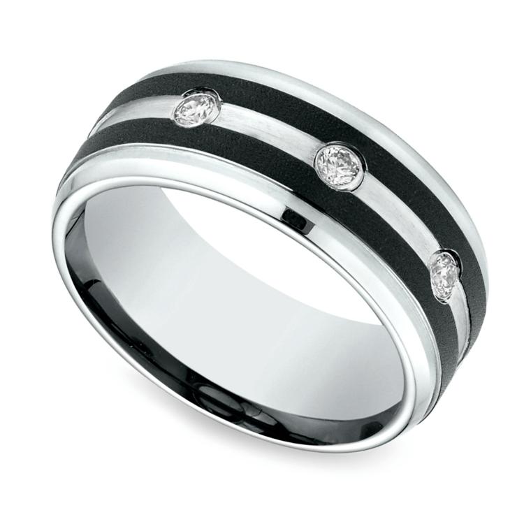 Diamond Bezel Men's Wedding Ring in Cobalt (9mm) | 01