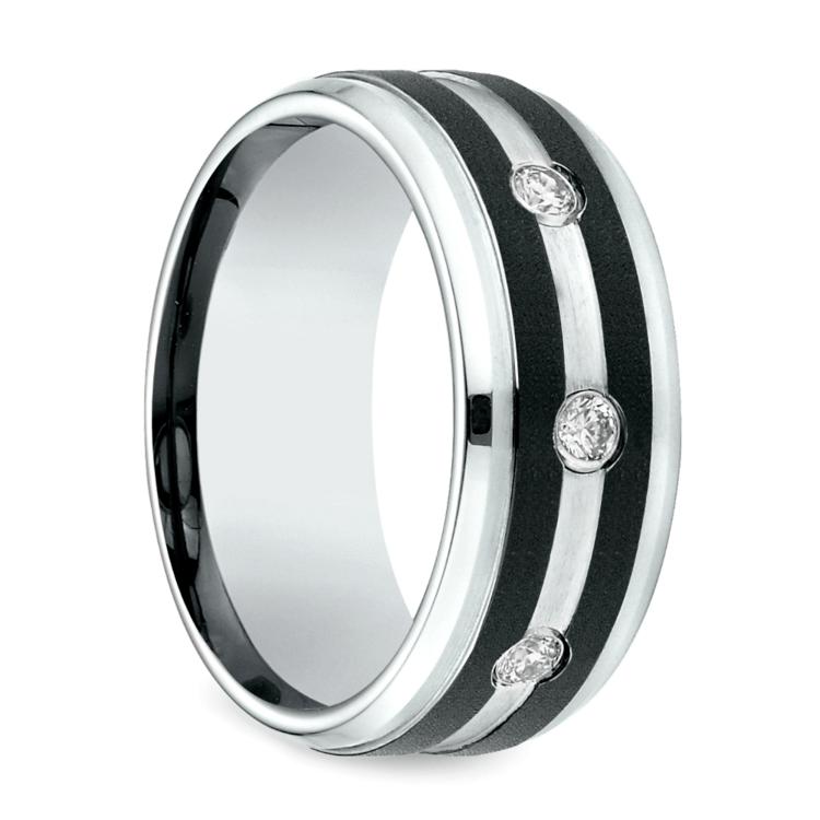 Diamond Bezel Men's Wedding Ring in Cobalt (9mm) | 02