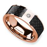 Diamond Black Carbon Fiber Inlay Men's Wedding Ring in 14k Rose Gold | Thumbnail 01