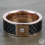 Diamond Black Carbon Fiber Inlay Men's Wedding Ring in 14k Rose Gold | Thumbnail 03