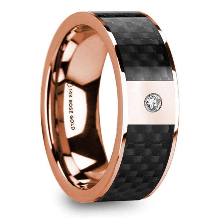 Diamond Black Carbon Fiber Inlay Men's Wedding Ring in 14k Rose Gold | 02