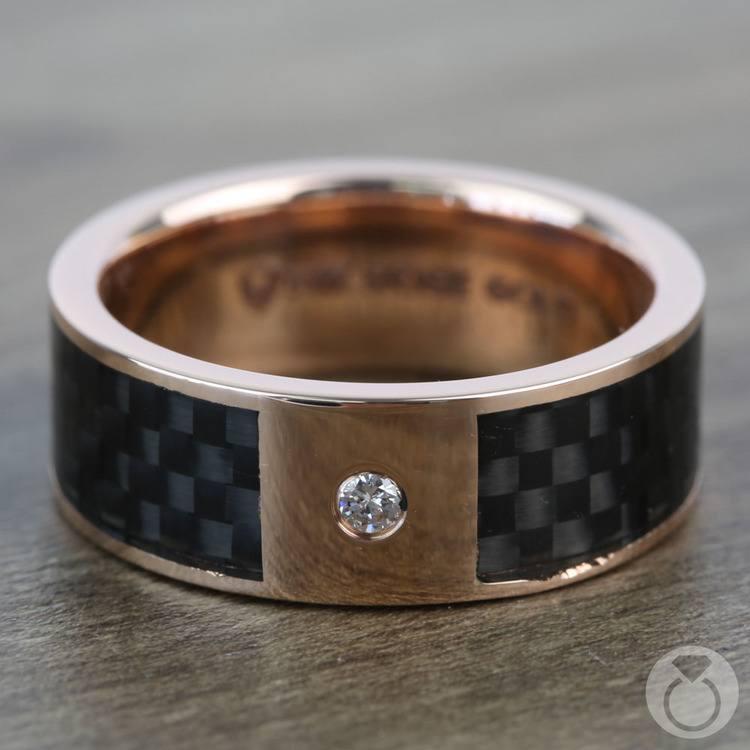 Diamond Black Carbon Fiber Inlay Men's Wedding Ring in 14k Rose Gold | 03