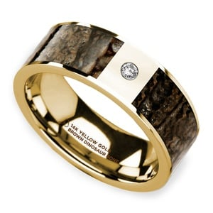 Brown Dinosaur Bone Inlay Men's Wedding Ring with Diamond in 14k Yellow Gold