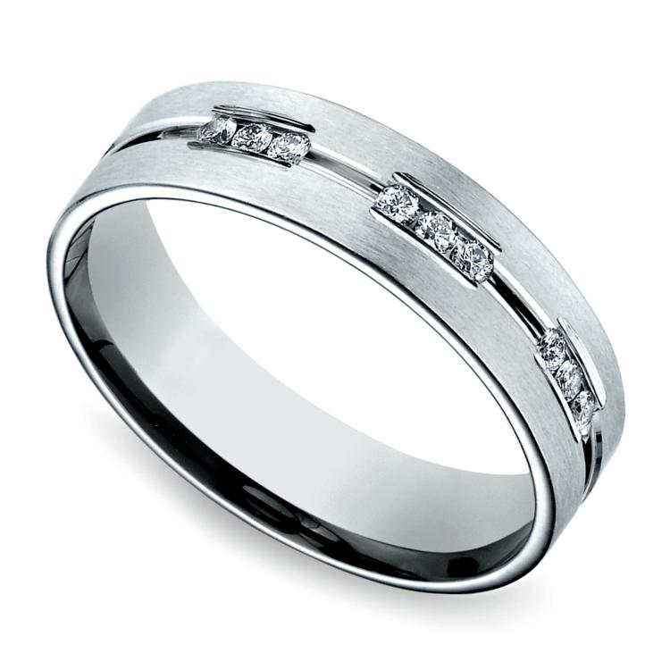 Diamond Eternity Men's Wedding Ring in White Gold | 01