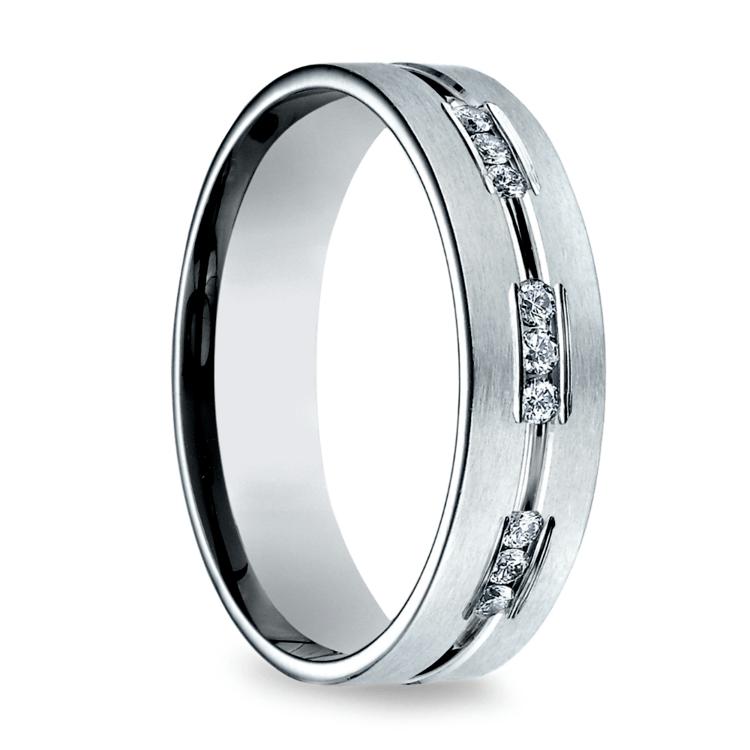 Diamond Eternity Men's Wedding Ring in White Gold | 02