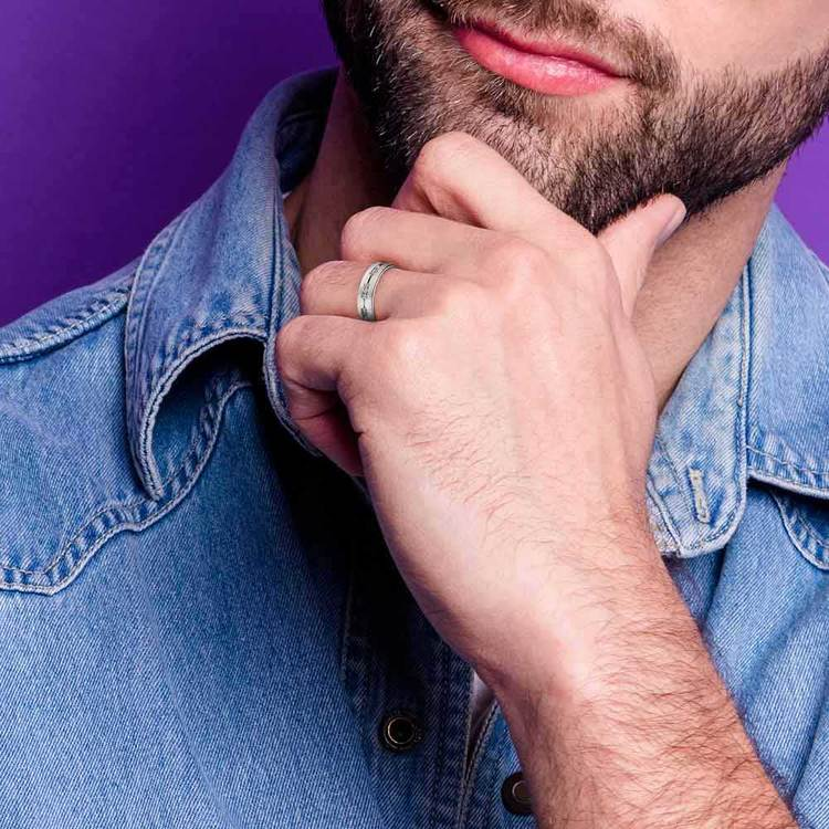 Diamond Eternity Men's Wedding Ring in White Gold | 04