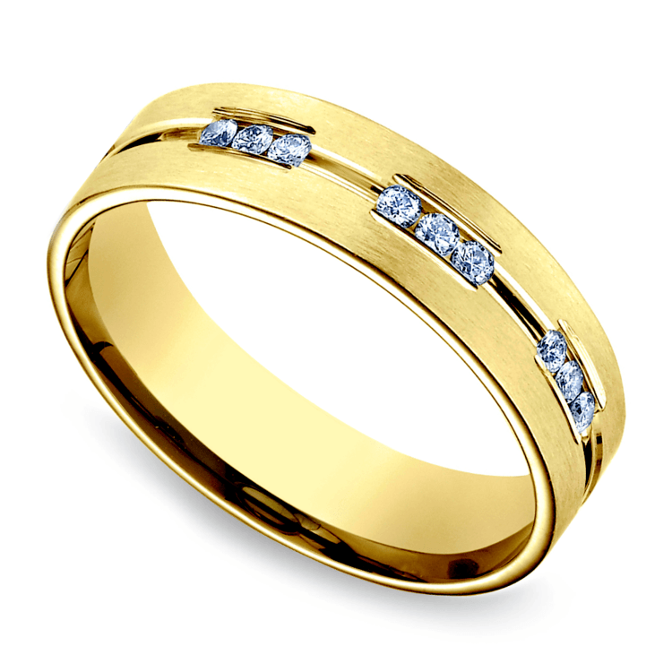 Diamond Eternity Men's Wedding Ring in Yellow Gold | 01