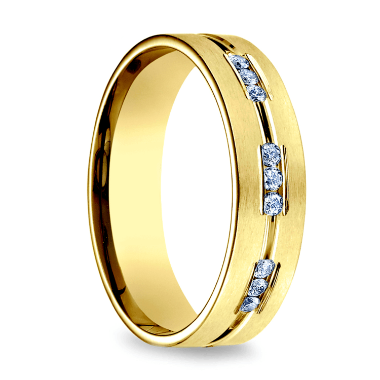 Diamond Eternity Men's Wedding Ring in Yellow Gold | 02