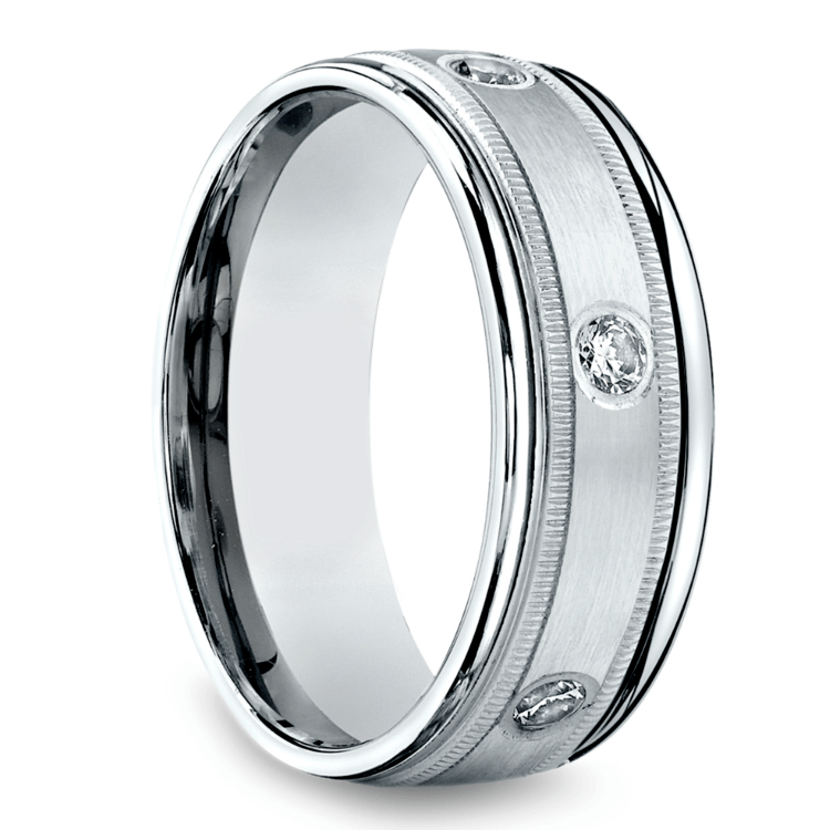 Diamond Eternity Milgrain Men's Wedding Ring in Palladium  | 02