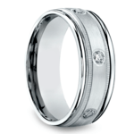 Diamond Eternity Milgrain Men's Wedding Ring in Platinum  | Thumbnail 02