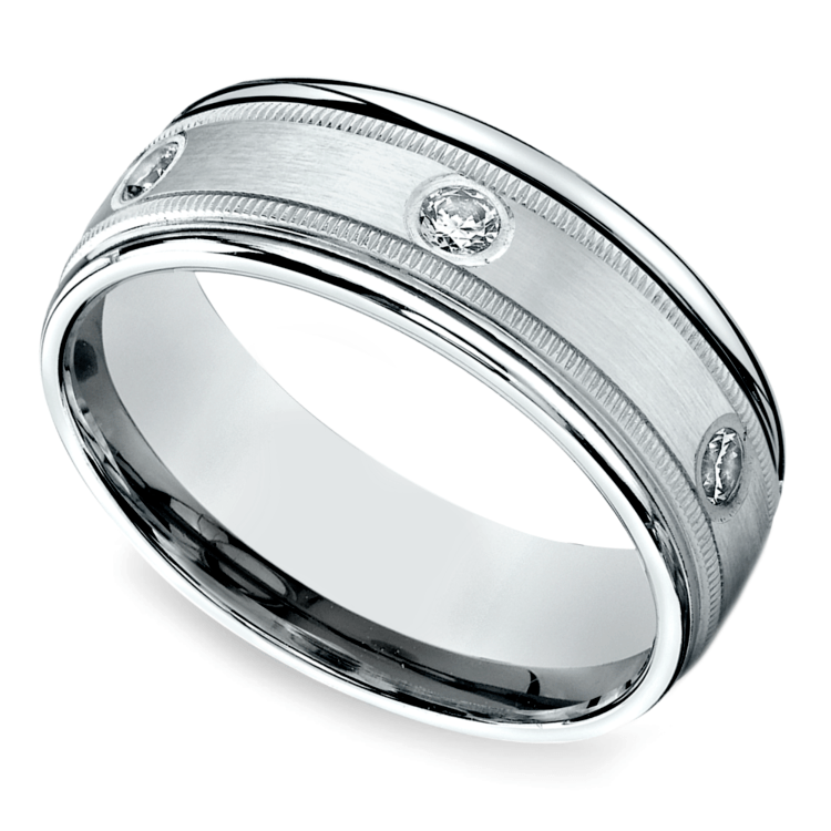 Diamond Eternity Milgrain Men's Wedding Ring in Platinum  | 01