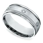 Diamond Eternity Milgrain Men's Wedding Ring in White Gold  | Thumbnail 01