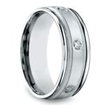 Diamond Eternity Milgrain Men's Wedding Ring in White Gold  | Thumbnail 02