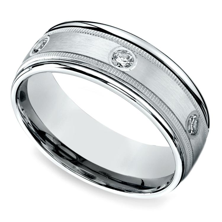Diamond Eternity Milgrain Men's Wedding Ring in White Gold  | 01