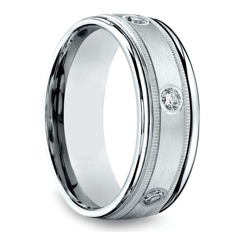 Diamond Eternity Milgrain Men's Wedding Ring in White Gold  | 02