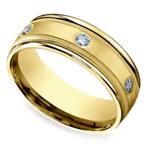Diamond Eternity Milgrain Men's Wedding Ring in Yellow Gold  | Thumbnail 01