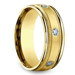 Diamond Eternity Milgrain Men's Wedding Ring in Yellow Gold  | Thumbnail 02