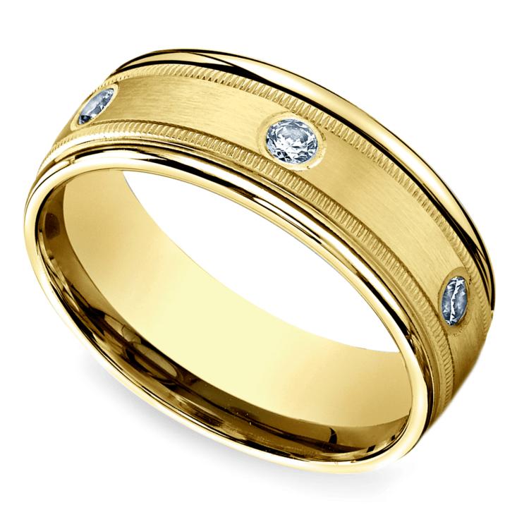 Diamond Eternity Milgrain Men's Wedding Ring in Yellow Gold  | 01