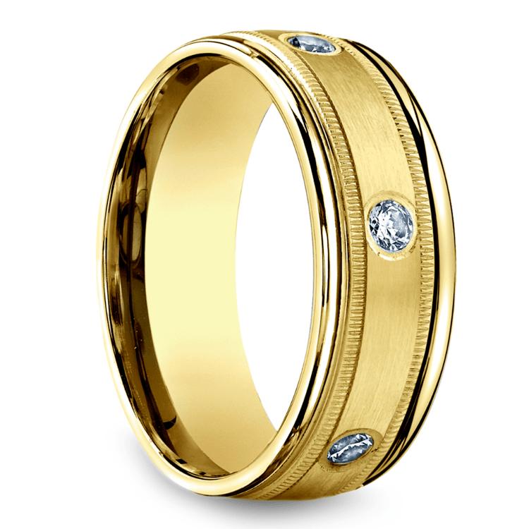 Diamond Eternity Milgrain Men's Wedding Ring in Yellow Gold  | 02