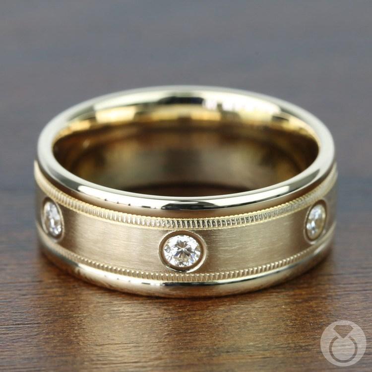 Diamond Eternity Milgrain Men's Wedding Ring in Yellow Gold  | 03