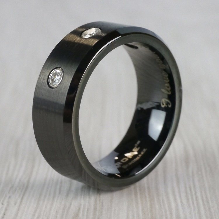 Diamond Men's Wedding Ring in Black Cobalt | 03