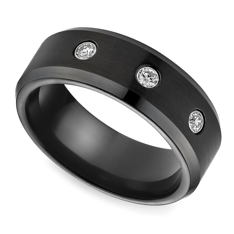 Diamond Men's Wedding Ring in Black Cobalt | 01