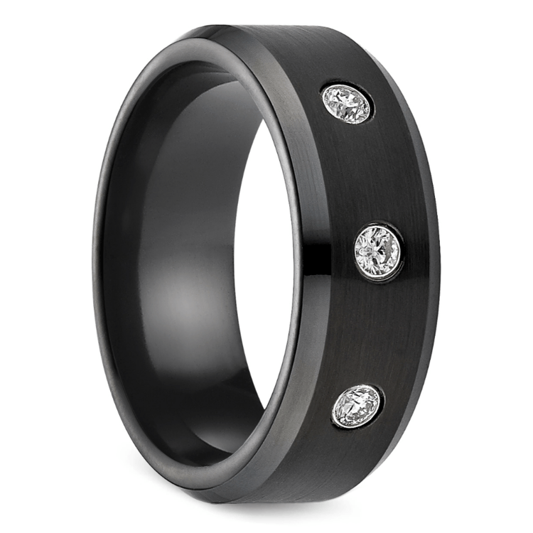 Diamond Men's Wedding Ring in Black Cobalt | 02