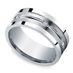Diamond Men's Wedding Ring in Silver