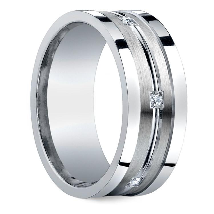 Diamond Men's Wedding Ring in Silver | 02