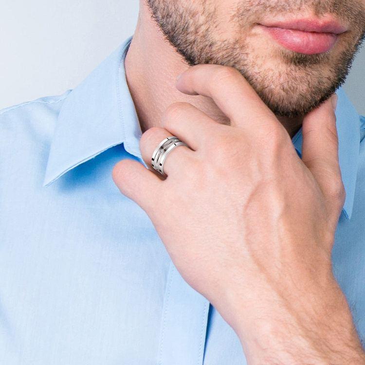 Diamond Men's Wedding Ring in Silver | 04
