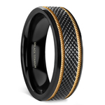 Black Mamba - Titanium Mens Wedding Ring with Gold Grooves | Thumbnail 02