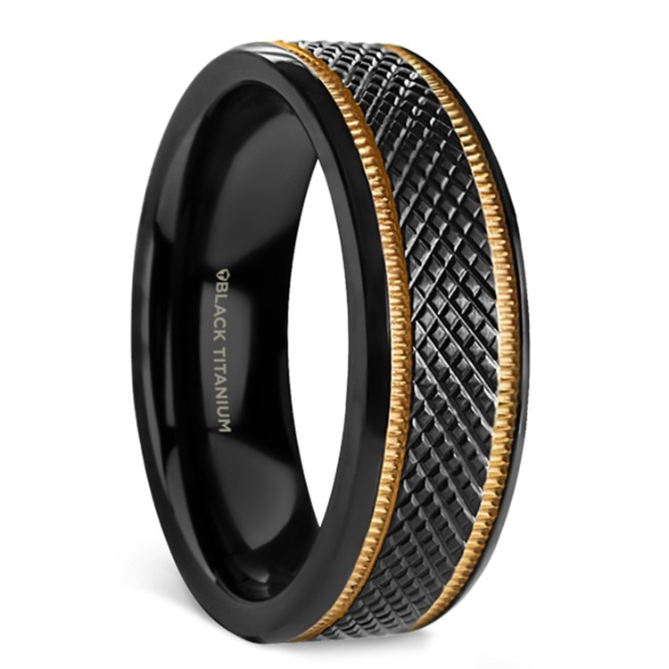 Black Mamba - Titanium Mens Wedding Ring with Gold Grooves | 02