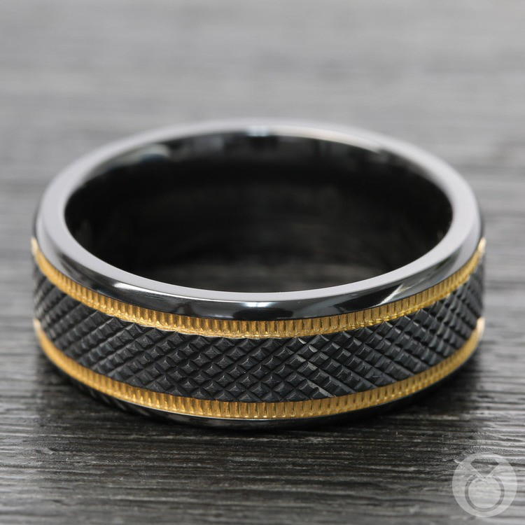 Black Mamba - Titanium Mens Wedding Ring with Gold Grooves | 03