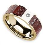 Red Dinosaur Bone Inlay Men's Wedding Ring with Diamond in 14K Yellow Gold   Thumbnail 01