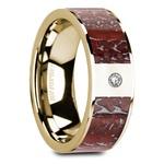 Red Dinosaur Bone Inlay Men's Wedding Ring with Diamond in 14K Yellow Gold   Thumbnail 02