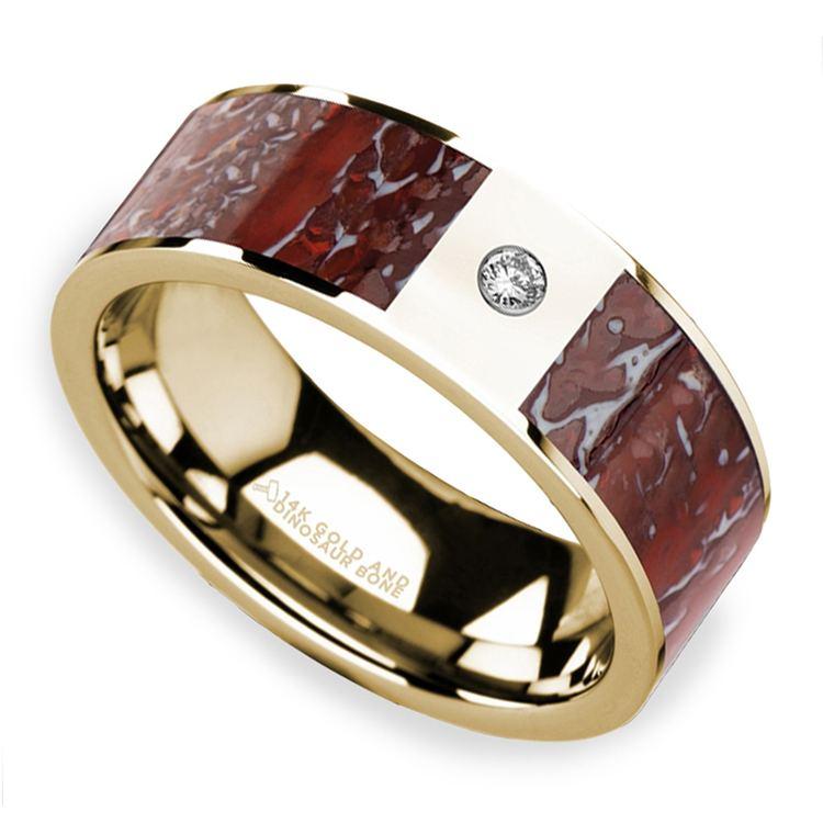 Red Dinosaur Bone Inlay Men's Wedding Ring with Diamond in 14K Yellow Gold   01