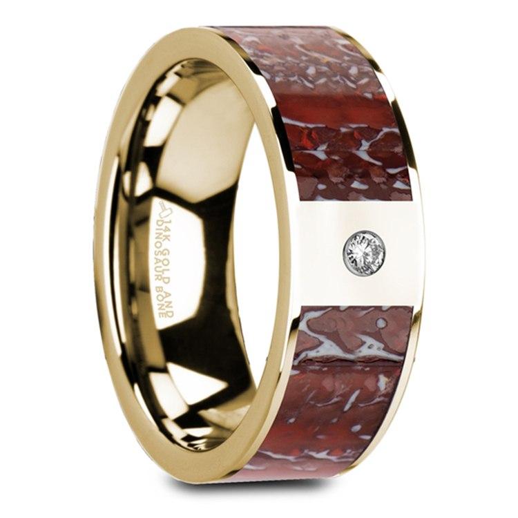 Red Dinosaur Bone Inlay Men's Wedding Ring with Diamond in 14K Yellow Gold   02