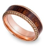 Diamond Set Men's Band with Cocobollo inlay in Rose Gold | Thumbnail 01