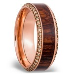 Diamond Set Men's Band with Cocobollo inlay in Rose Gold | Thumbnail 02