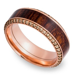 Garden Wall - 14K Rose Gold Diamond Mens Band with Cocobolo Inlay
