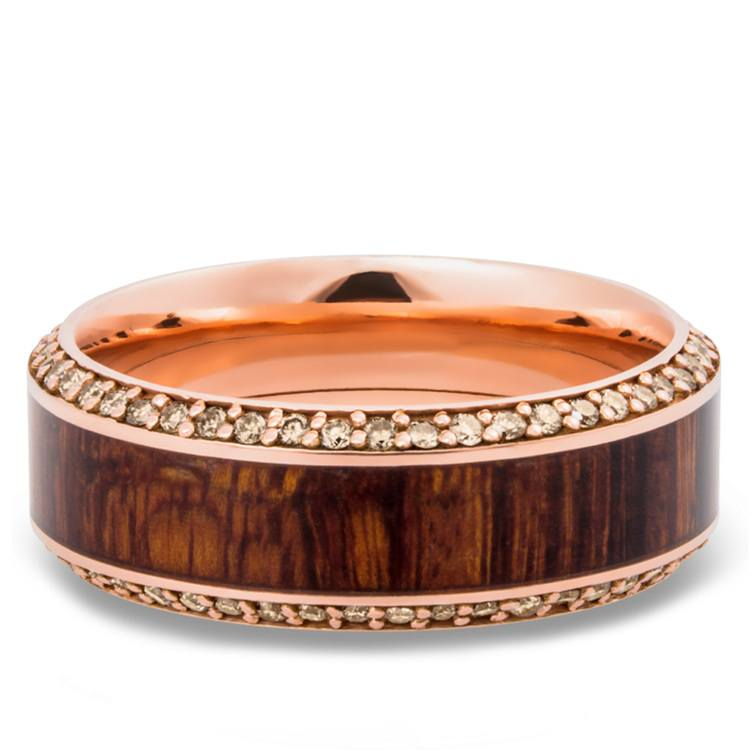 Diamond Set Men's Band with Cocobollo inlay in Rose Gold | 03
