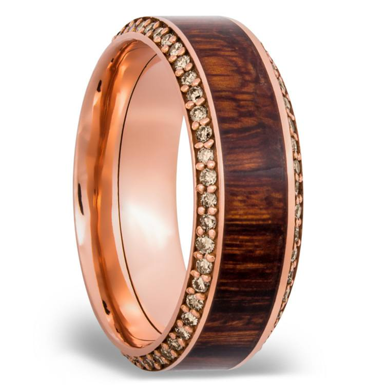 Diamond Set Men's Band with Cocobollo inlay in Rose Gold | 02