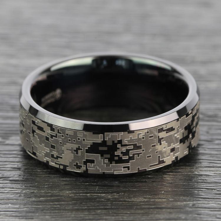 Digital Camo Men's Wedding Ring in Tungsten | 06