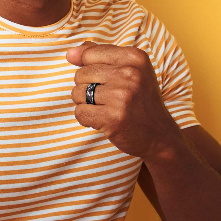 Digital Camo Men's Wedding Ring in Tungsten   06