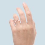 Domed Rose Gold Promise Ring with Baguette Diamond (2.5mm) | Thumbnail 06