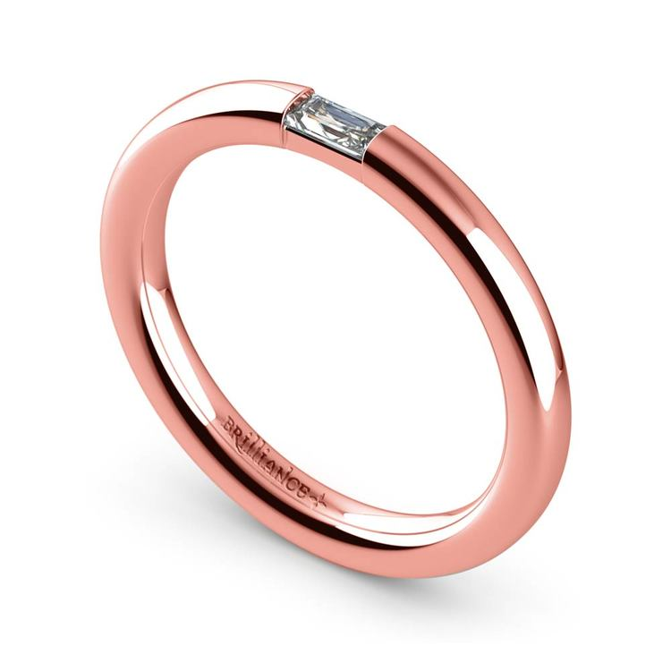 Domed Promise Ring with Baguette Diamond in Rose Gold (2.5mm) | 01