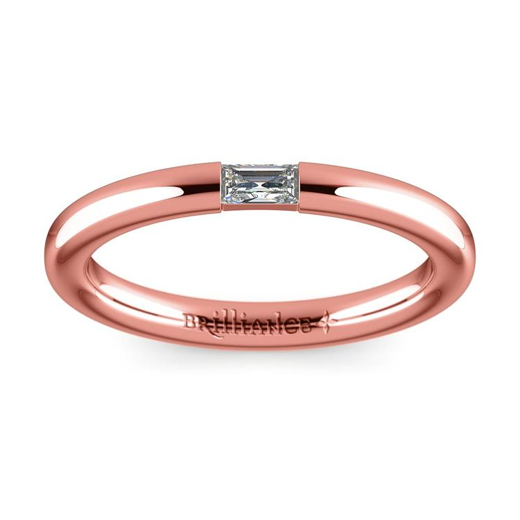 Domed Promise Ring with Baguette Diamond in Rose Gold (2.5mm) | 02