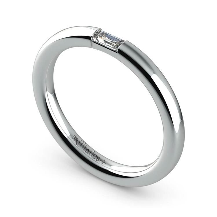 Domed Promise Ring with Baguette Diamond in White Gold (2.5mm) | 01