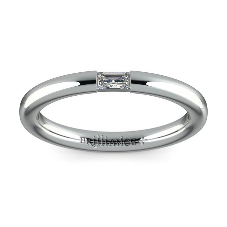 Domed Promise Ring with Baguette Diamond in White Gold (2.5mm) | 02