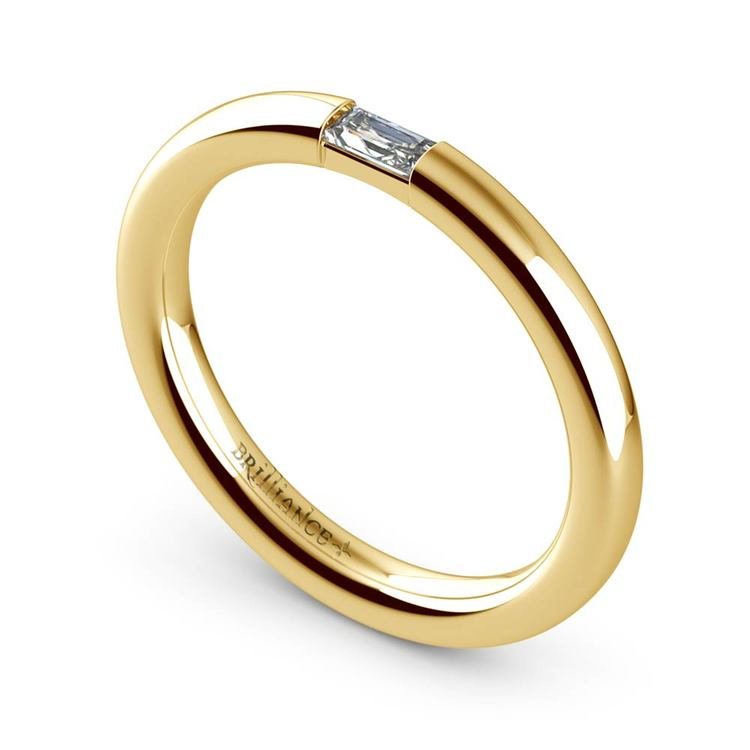 Domed Promise Ring with Baguette Diamond in Yellow Gold (2.5mm) | 01